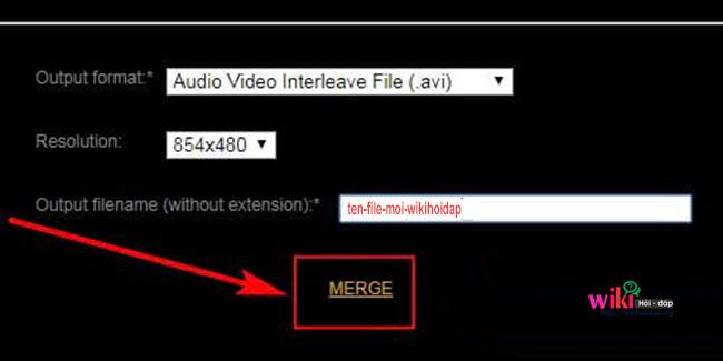 Chọn định dạng cho File Video ghép và tên Video xuất ra